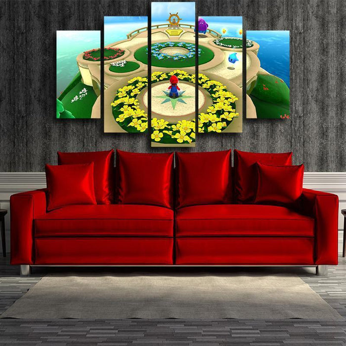 Super Mario Skyship 5pc Wall Art Decor Posters Canvas Prints