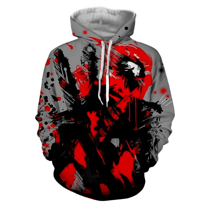 Deadpool Abstract Painting Design Stylish Winter Hoodie - Superheroes Gears