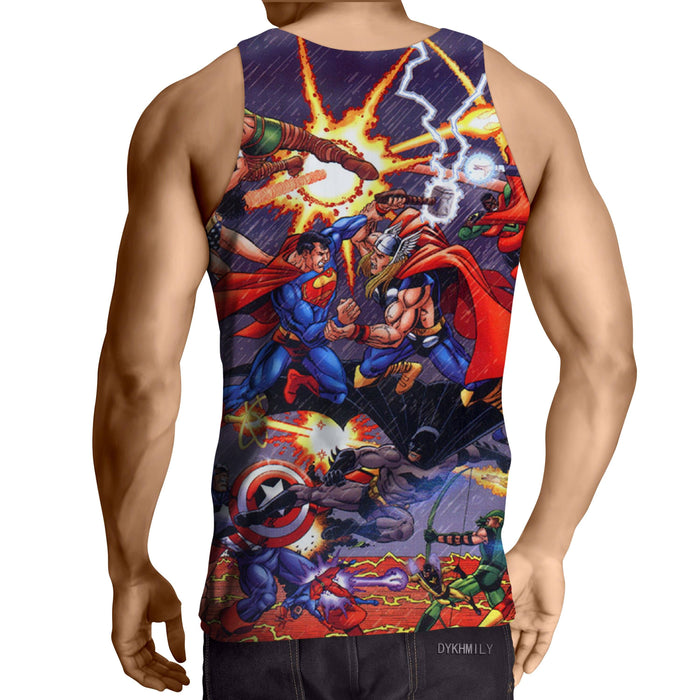 Justice League Fighting The Avengers Scene Full Print Tank Top - Superheroes Gears