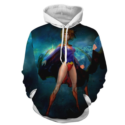 Amazing Animated Supergirl In Blue Galactic Universe Hoodie