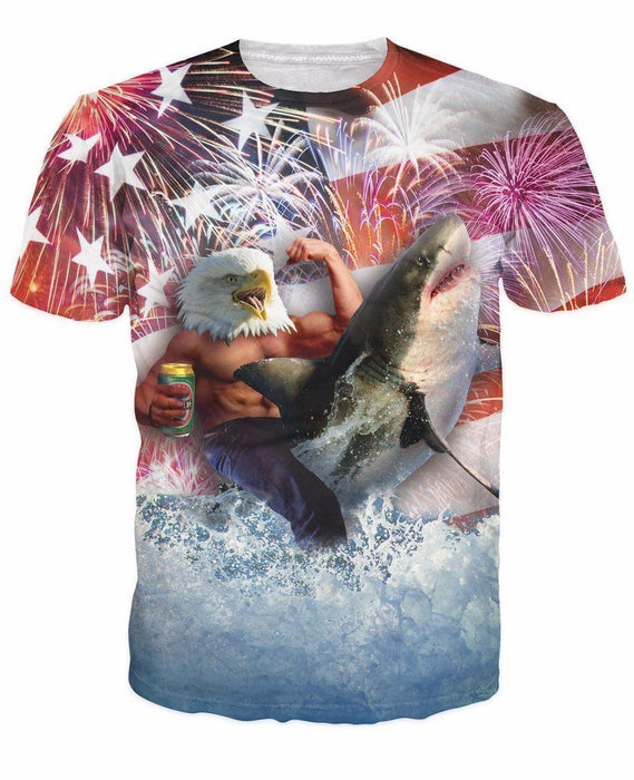 American Flag Muscle Eagle Drinking Beer Shark Jump Firework T-shirt - Superheroes Gears