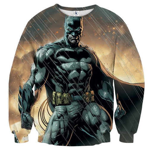 Angry Batman Standing Under The Rain Full Print Sweatshirt - Superheroes Gears