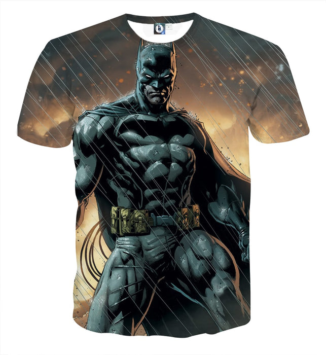 Angry Batman Standing Under The Rain Full Print T-Shirt - Superheroes Gears