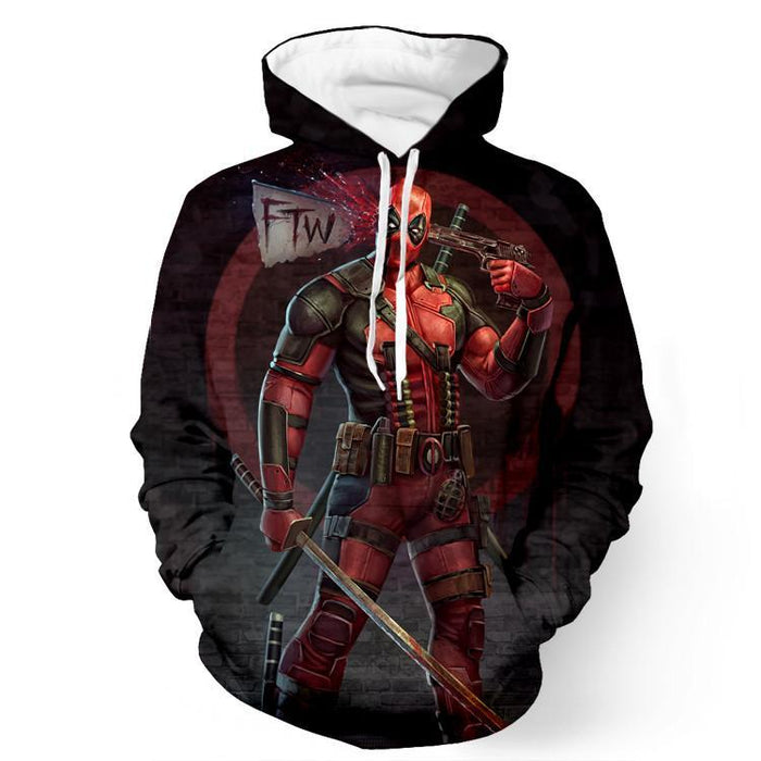Anti Hero Cool Deadpool Gun FTW Fun Head Shot Trendy Pullover Hoodie - Superheroes Gears