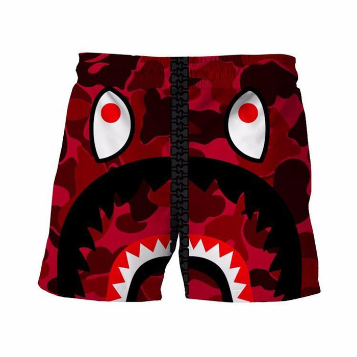 Army Camouflage Military Print Funny Crazy Shark Red 3D Shorts - Superheroes Gears