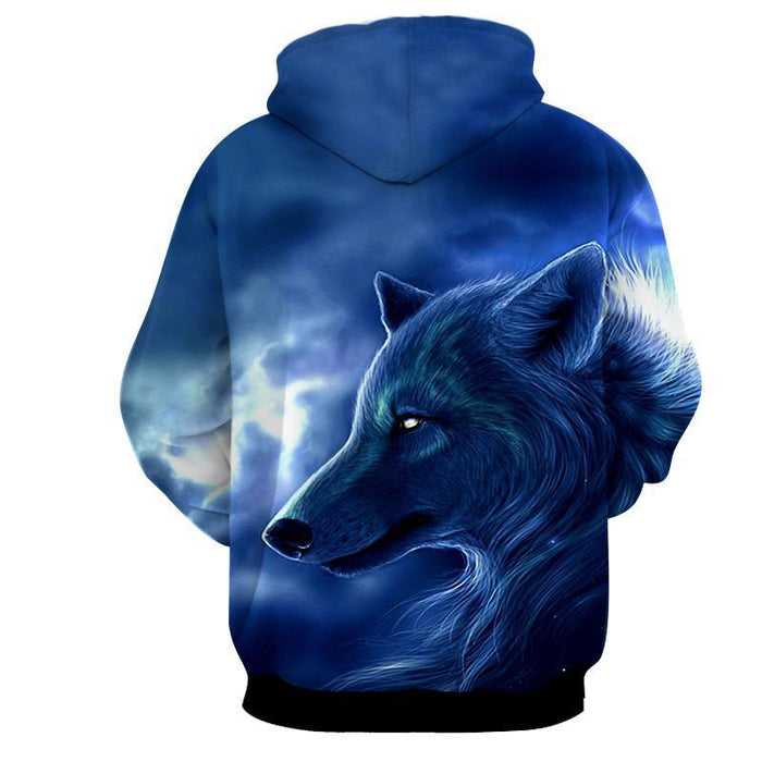 Artistic Wolf Drawing Face Fur Portrait Blue Color Hoodie - Superheroes Gears