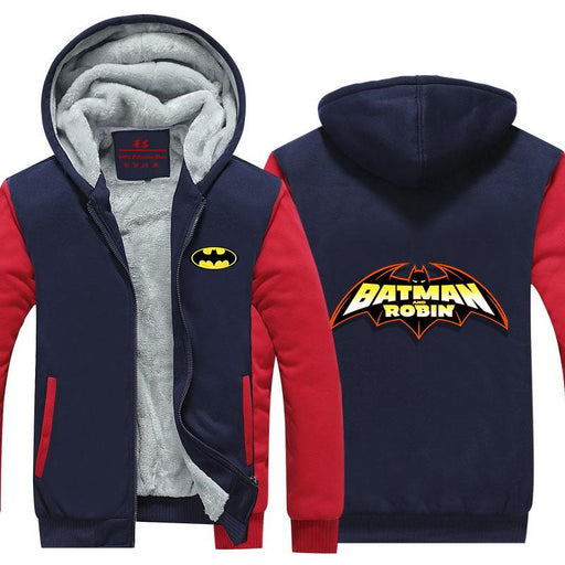 Batman And Robin Center Red Line Symbol Cool Hooded Jacket - Superheroes Gears