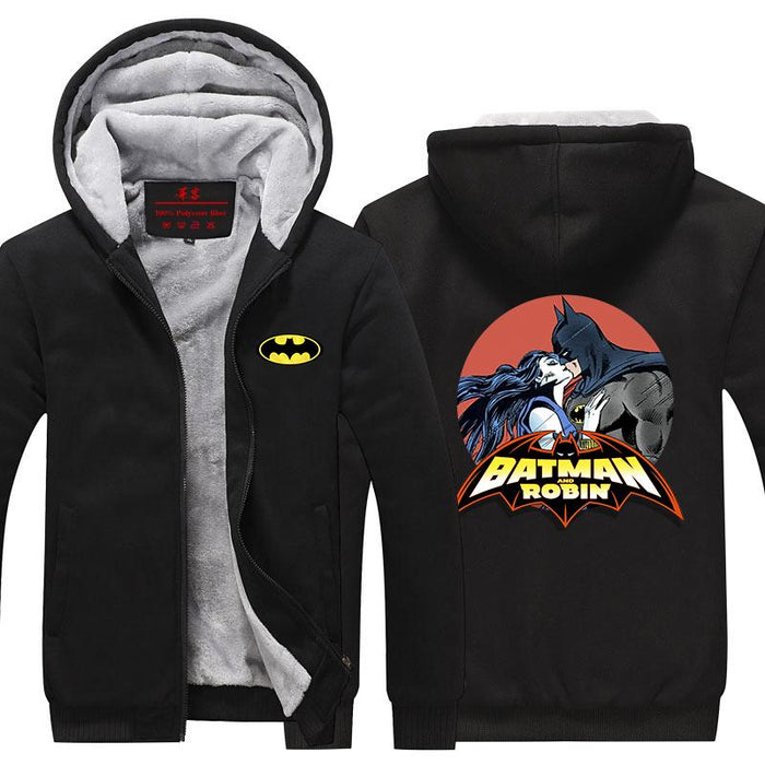 Batman And Robin Hot Kiss Love Scene Print Hooded Jacket - Superheroes Gears