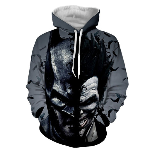 Batman And The Villain In One Face Full Print Gray Hoodie - Superheroes Gears