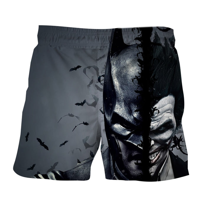 Batman And The Villain In One Face Full Print Gray Short - Superheroes Gears