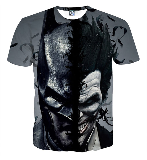 Batman And The Villain In One Face Full Print Gray T-Shirt - Superheroes Gears