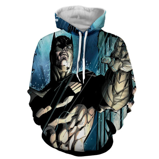 Batman Caught Up Fighting Under The Rain Full Print Hoodie - Superheroes Gears