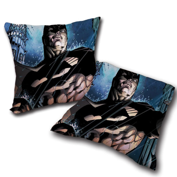 Batman Caught Up Fighting Under The Rain Full Print  Pillow - Superheroes Gears