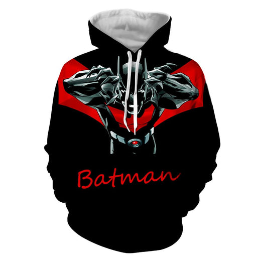 Batman Character With Red Name Label Black Cool Print Hoodie - Superheroes Gears