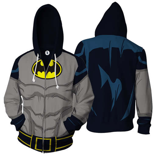Batman DC Comics Grey Costume Cosplay 3D Zip Up Hoodie - Superheroes Gears