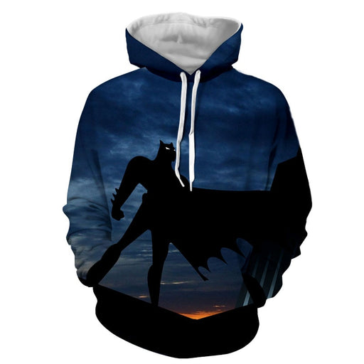 Batman Superhero Silhouette On the Sunset Full Print Hoodie - Superheroes Gears