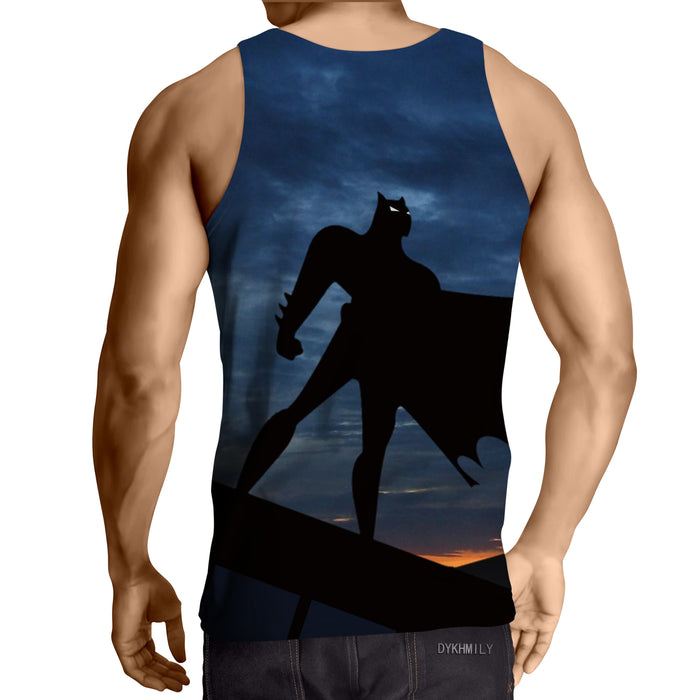 Batman Superhero Silhouette On the Sunset Full Print Tank Top - Superheroes Gears