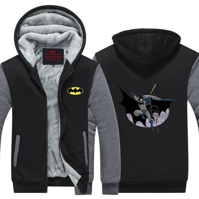 Batman Swing The Rope Ready To Fight Cool Hooded Jacket - Superheroes Gears