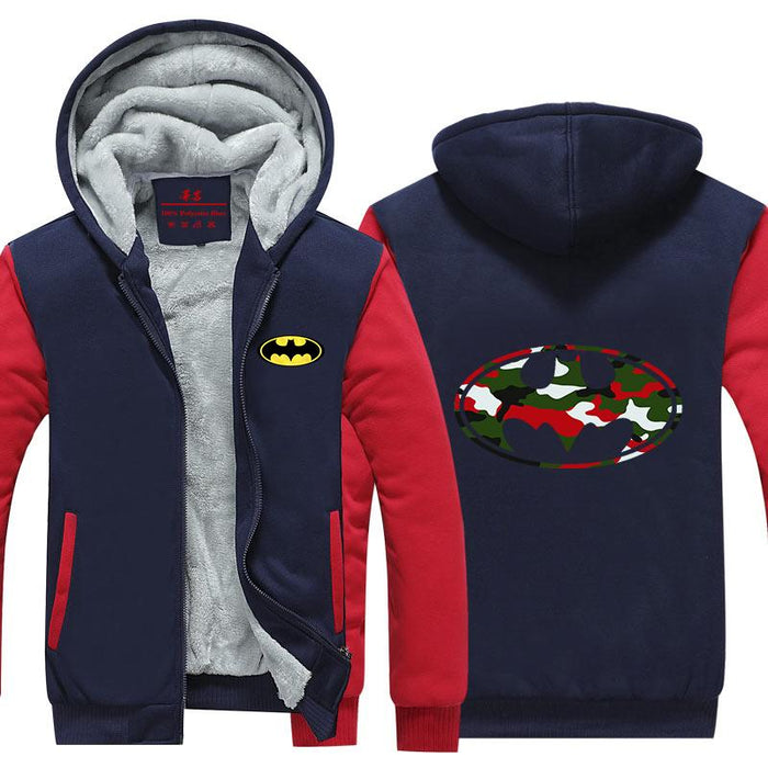 Batman Symbol Colourful Camouflage Patterns Hooded Jacket - Superheroes Gears