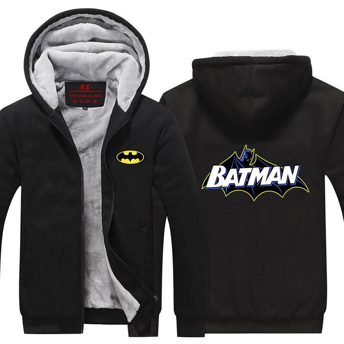 Batman Symbol Yellow Line White Letters Cool Hooded Jacket - Superheroes Gears