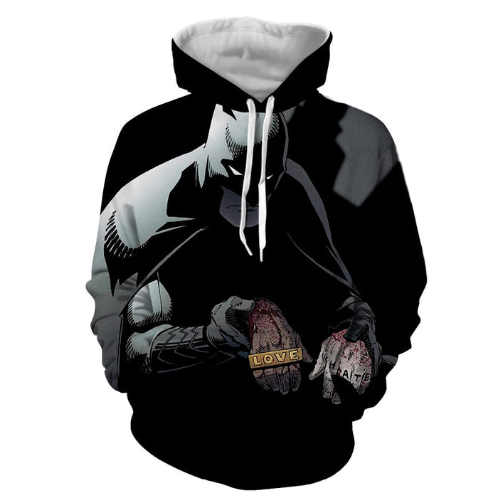 Batman The Black Mask Sorrow With People Full Print Hoodie - Superheroes Gears