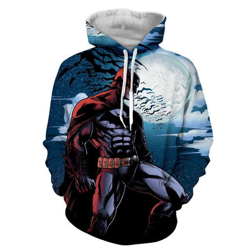 Batman Under The Moon With Bats And Night Blue Sea Hoodie - Superheroes Gears