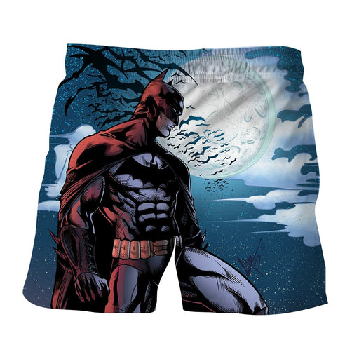 Batman Under The Moon With Bats And Night Blue Sea Short - Superheroes Gears
