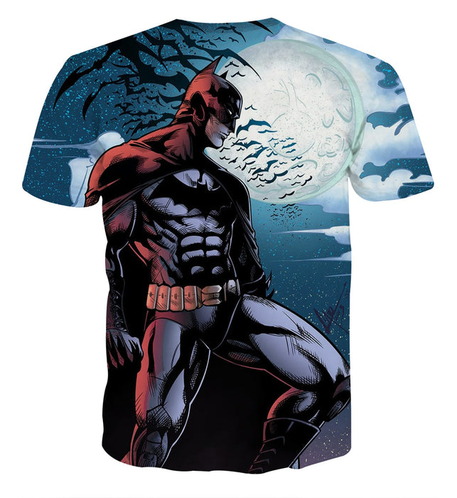 Batman Under The Moon With Bats And Night Blue Sea T-Shirt - Superheroes Gears