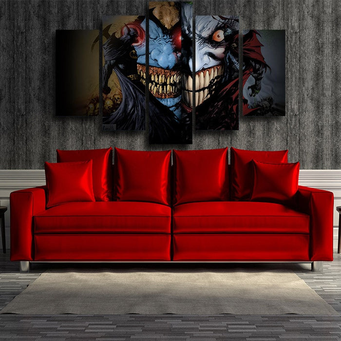 Batman V Joker Face Off Design 5pcs Wall Art Canvas Print