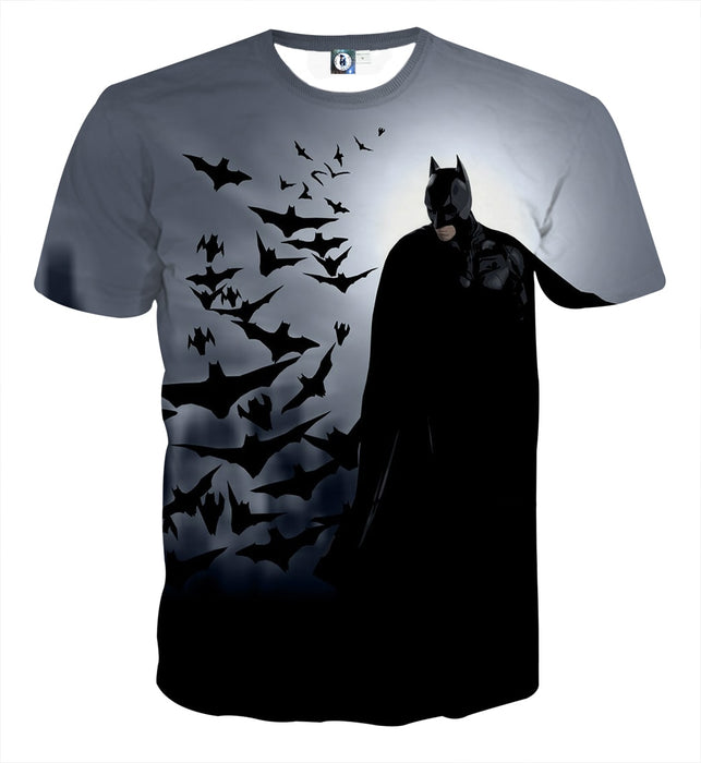 Batman With The Bats Silhouette On The Moon Full Print T-Shirt - Superheroes Gears