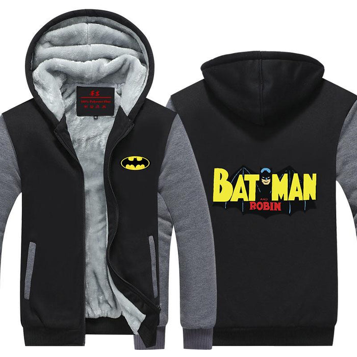 Batman and Robin Flying Yellow Letters Cool Hooded Jacket - Superheroes Gears
