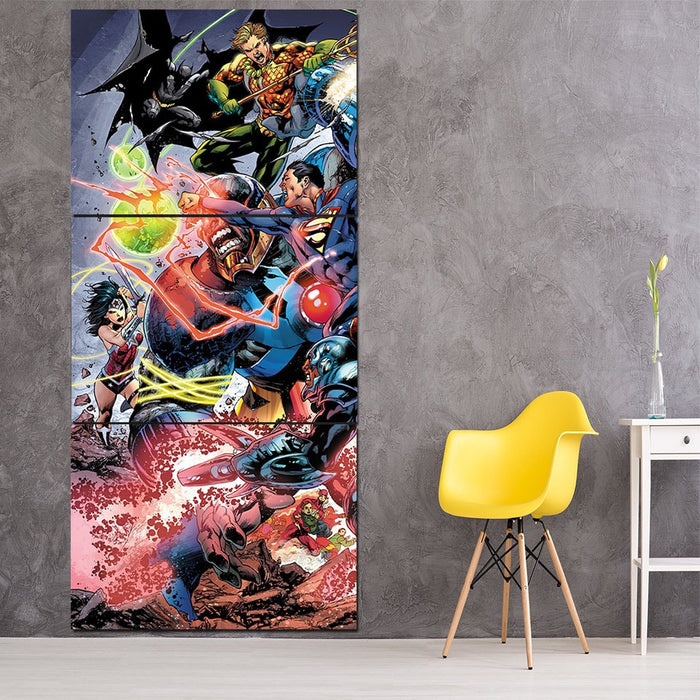 Battle Of The Legends Justice League 3pcs Canvas Print