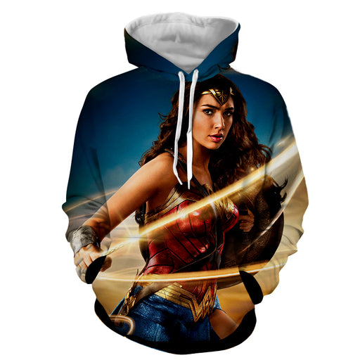 Beautiful Gal Gadot Wonder Woman Holding Golden Lasso Hoodie