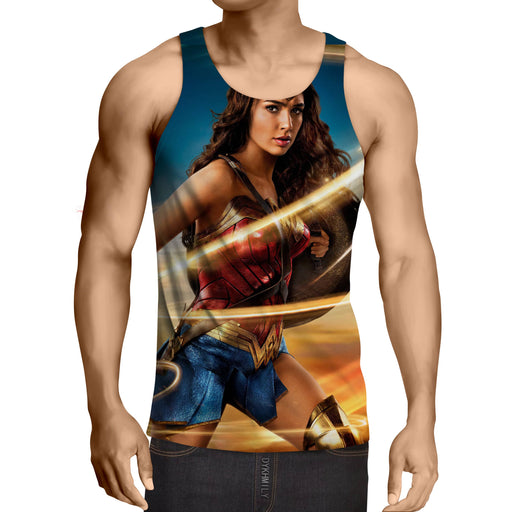 Beautiful Gal Gadot Wonder Woman Holding Golden Lasso Tank Top