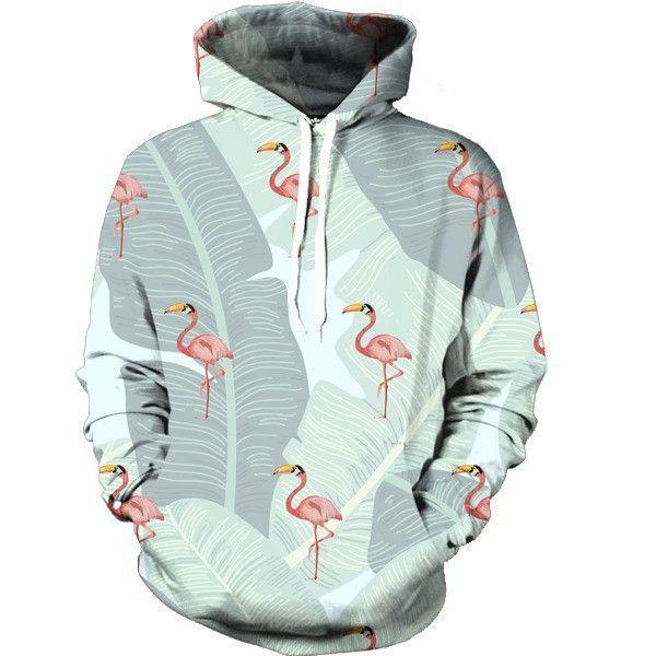 Beautiful Tiny Pinky Flamingos Tropical Forest Cute Design Hoodie - Superheroes Gears