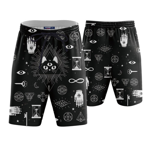 Black Cat Esoteric Symbols 3D Boardshorts Swim Trunks - Superheroes Gears
