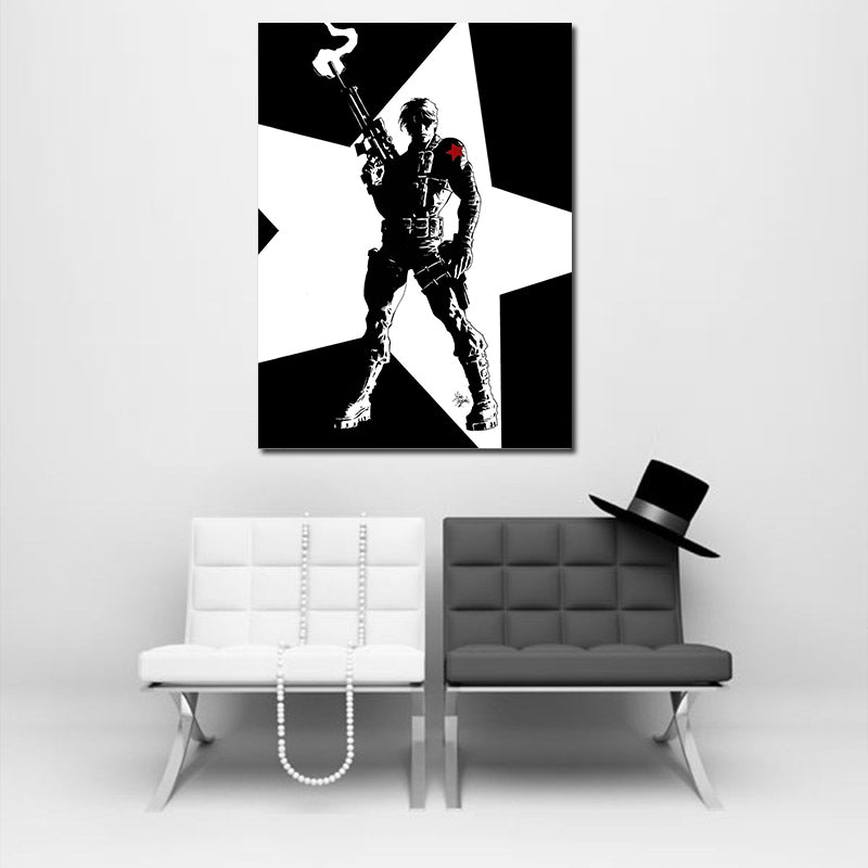 8x10 Stretched Canvas Hand Painted The Winter Soldier Bucky Barnes Painting