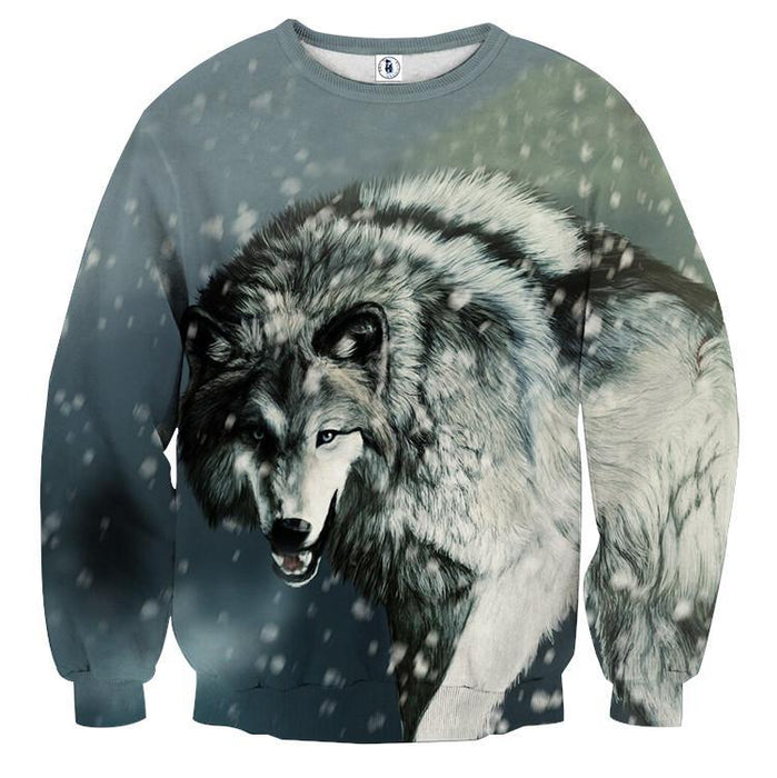 Calm Grey Wolf Snowing Weather Stylish Design Sweatshirt - Superheroes Gears