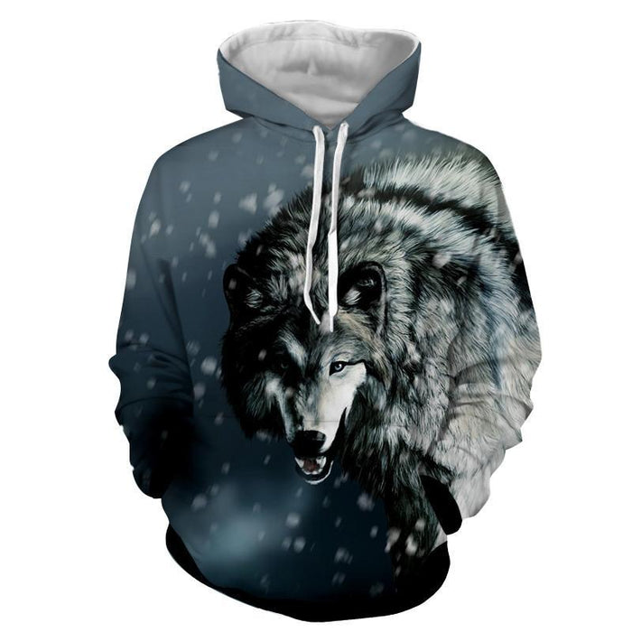 Calm Grey Wolf Snowing Weather Stylish Design Hoodie - Superheroes Gears