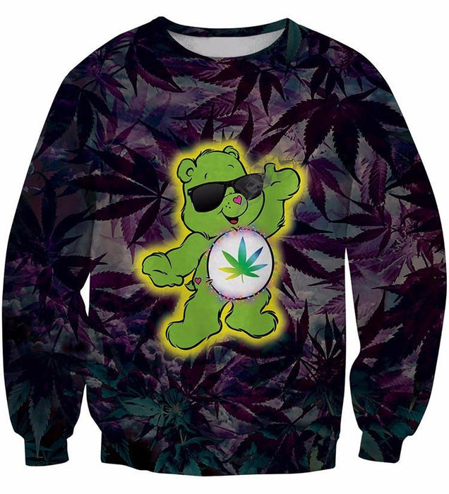Cannabis Marijuana Leaves Green Funny Cute Bear 3D Sweatshirt - Superheroes Gears