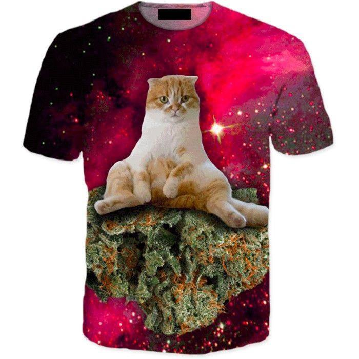 Cannabis Weed Kush Ganja Kitten Cat in Space Galaxy Dope 3D T-Shirt - Superheroes Gears