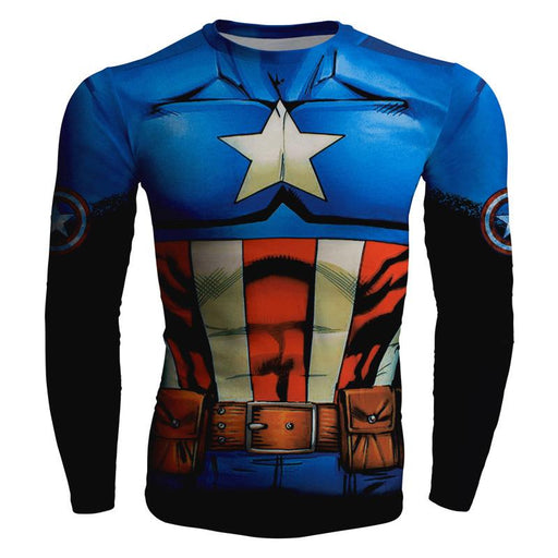 Captain America 3D Full Print Long Sleeves Compression T-shirt - Superheroes Gears