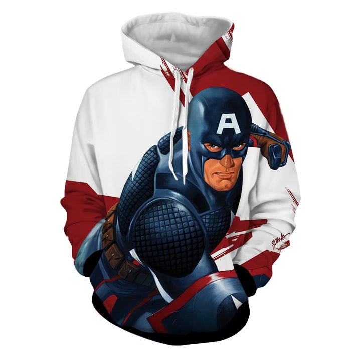 Captain America 3D Realistic Print On White Hoodie
