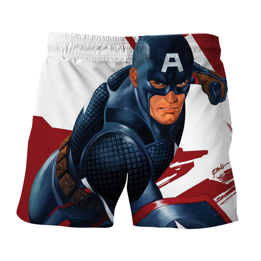 Captain America 3D Realistic Print On White Boardshorts