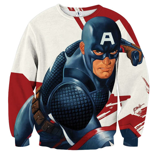 Captain America 3D Realistic Print On White Sweatshirt
