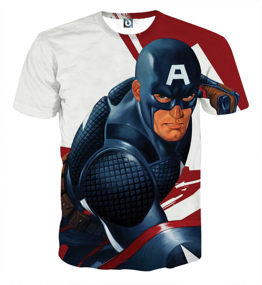 Captain America 3D Realistic Print On White T-shirt