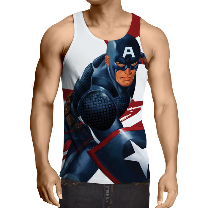 Captain America 3D Realistic Print On White Tank Top
