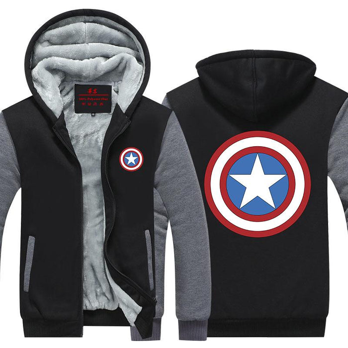 Captain America Classic Shield Symbol Print Hooded Jacket - Superheroes Gears