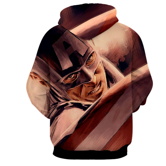 Captain America Close Up Paint Art Design Full Print Hoodie