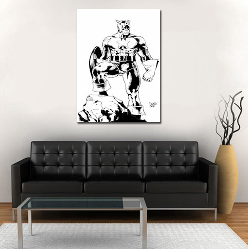 Captain America Comic Art Design Black & White 1pc Canvas